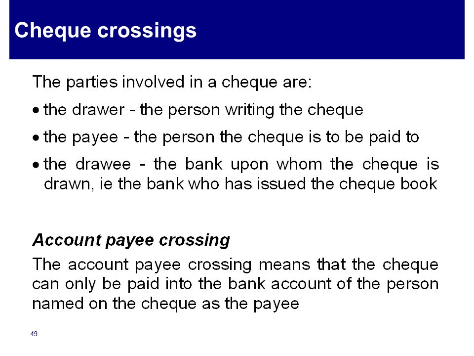 Cheque crossings