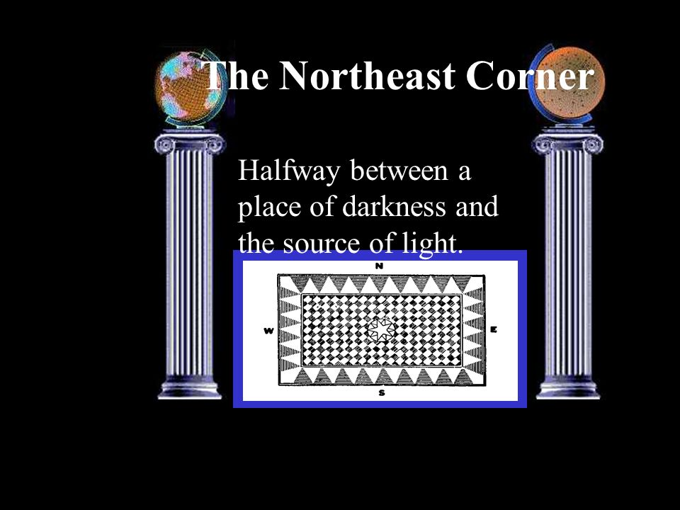 The Northeast Corner Halfway between a place of darkness and the source of light.