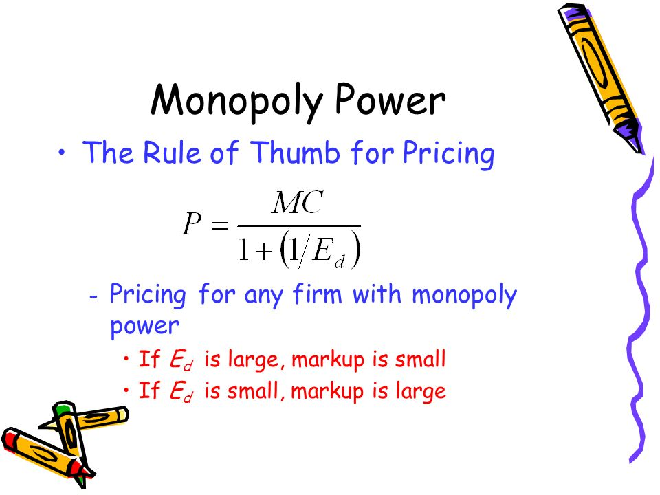 Monopoly Power The Rule of Thumb for Pricing