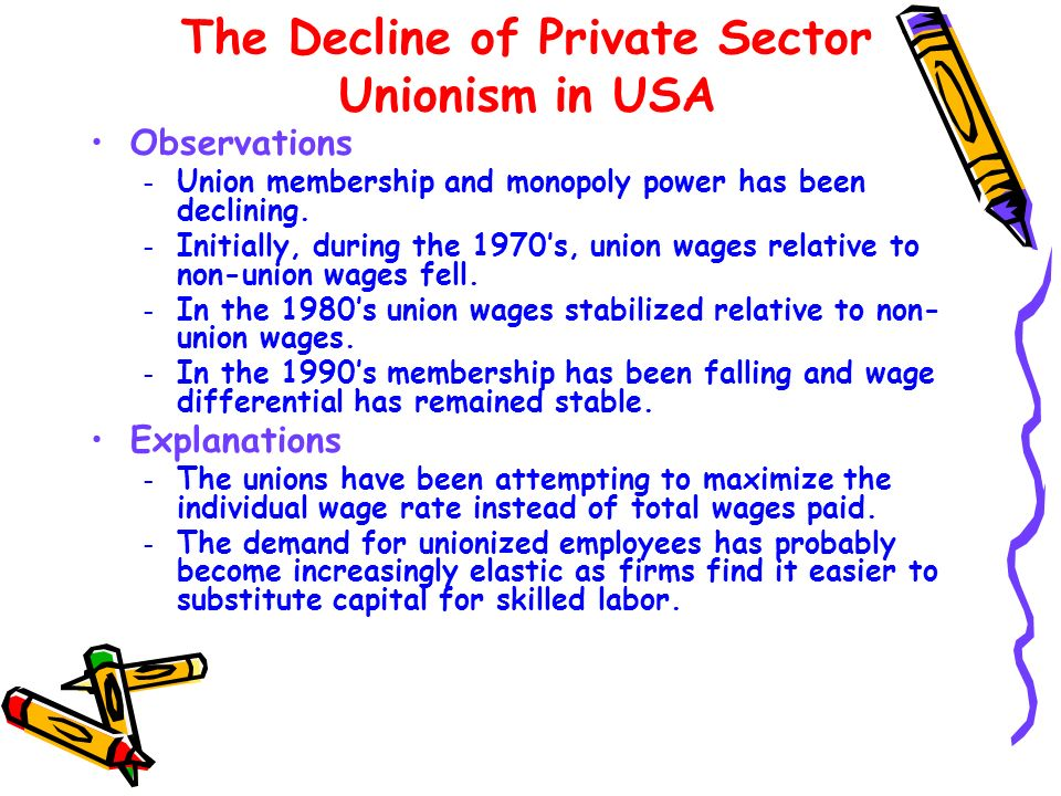 The Decline of Private Sector Unionism in USA