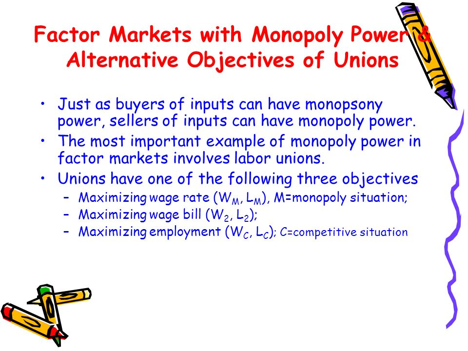 Factor Markets with Monopoly Power & Alternative Objectives of Unions