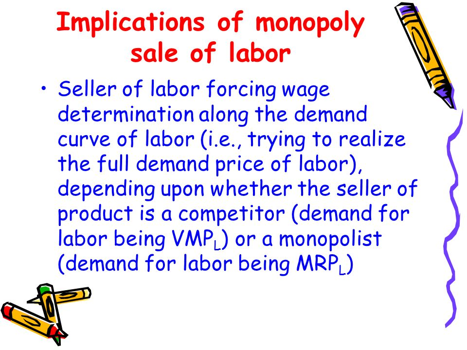 Implications of monopoly sale of labor