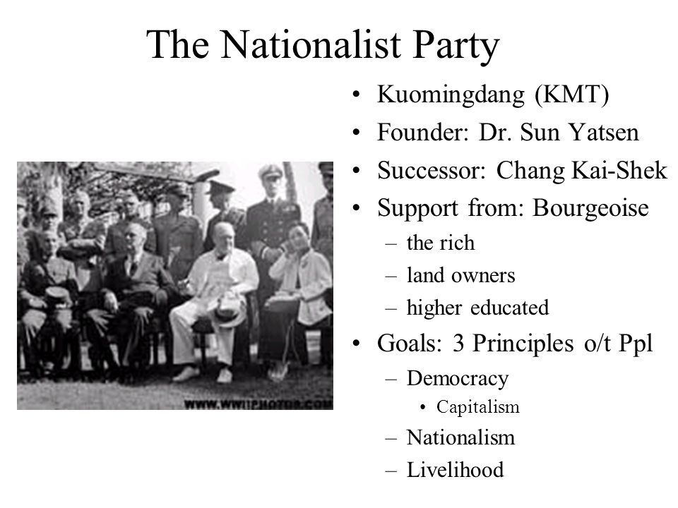 The Nationalist Party Kuomingdang (KMT) Founder: Dr. Sun Yatsen