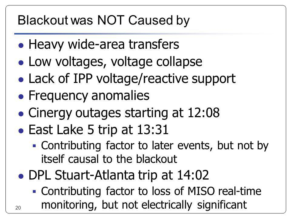 Blackout was NOT Caused by