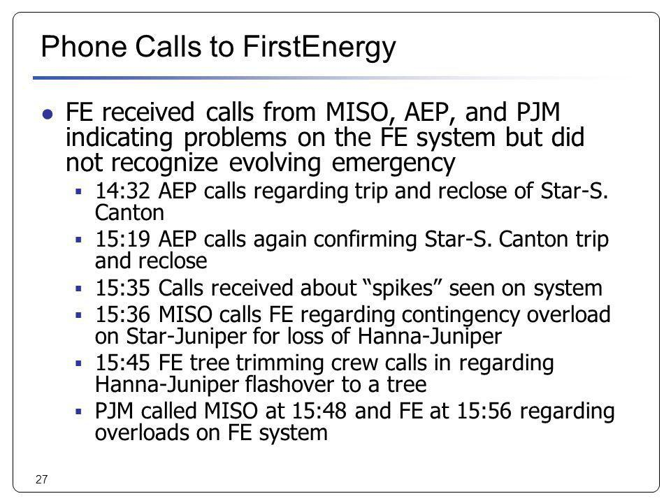 Phone Calls to FirstEnergy
