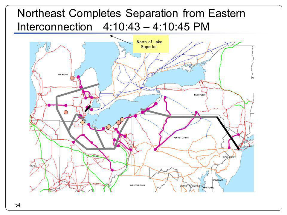 Northeast Completes Separation from Eastern Interconnection 4:10:43 – 4:10:45 PM