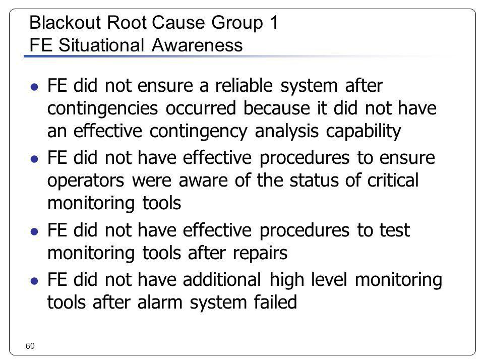 Blackout Root Cause Group 1 FE Situational Awareness