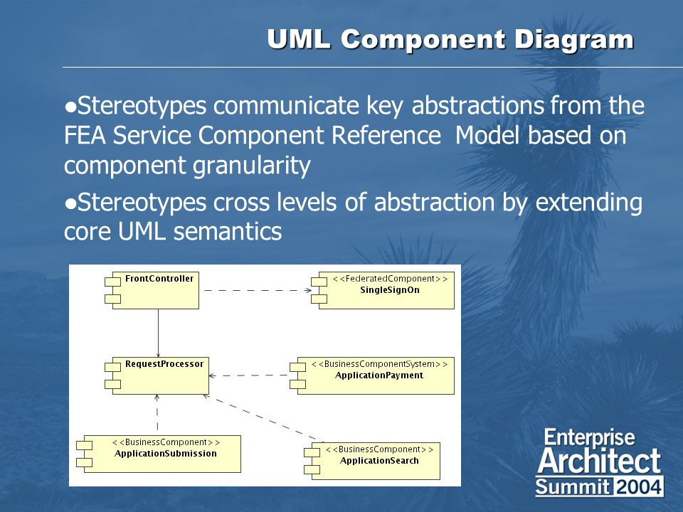 UML Component Diagram Stereotypes communicate key abstractions from the FEA Service Component Reference Model based on component granularity.