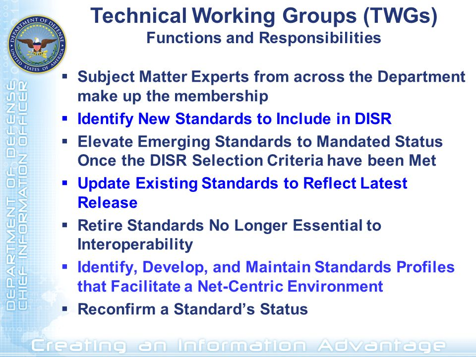 Technical Working Groups (TWGs) Functions and Responsibilities