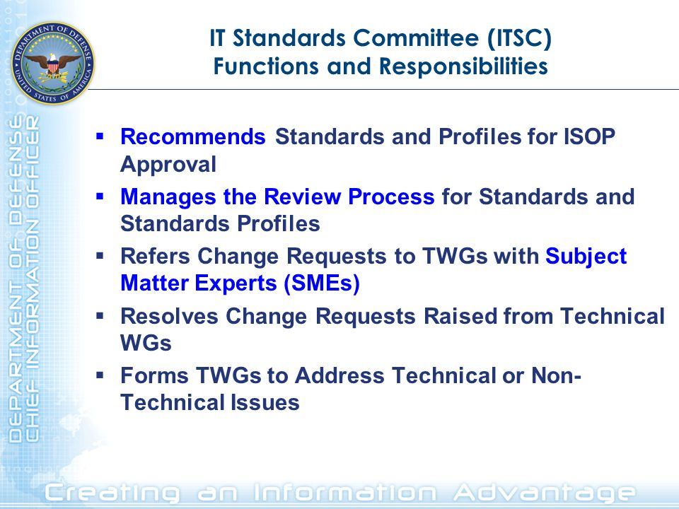 IT Standards Committee (ITSC) Functions and Responsibilities