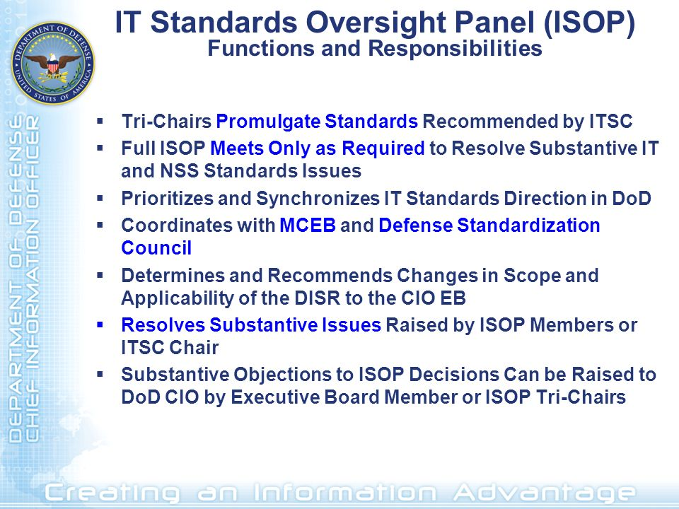 IT Standards Oversight Panel (ISOP) Functions and Responsibilities