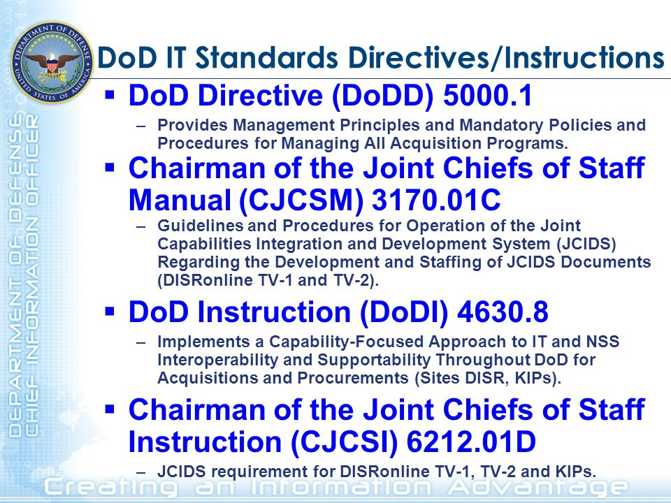 DoD IT Standards Directives/Instructions