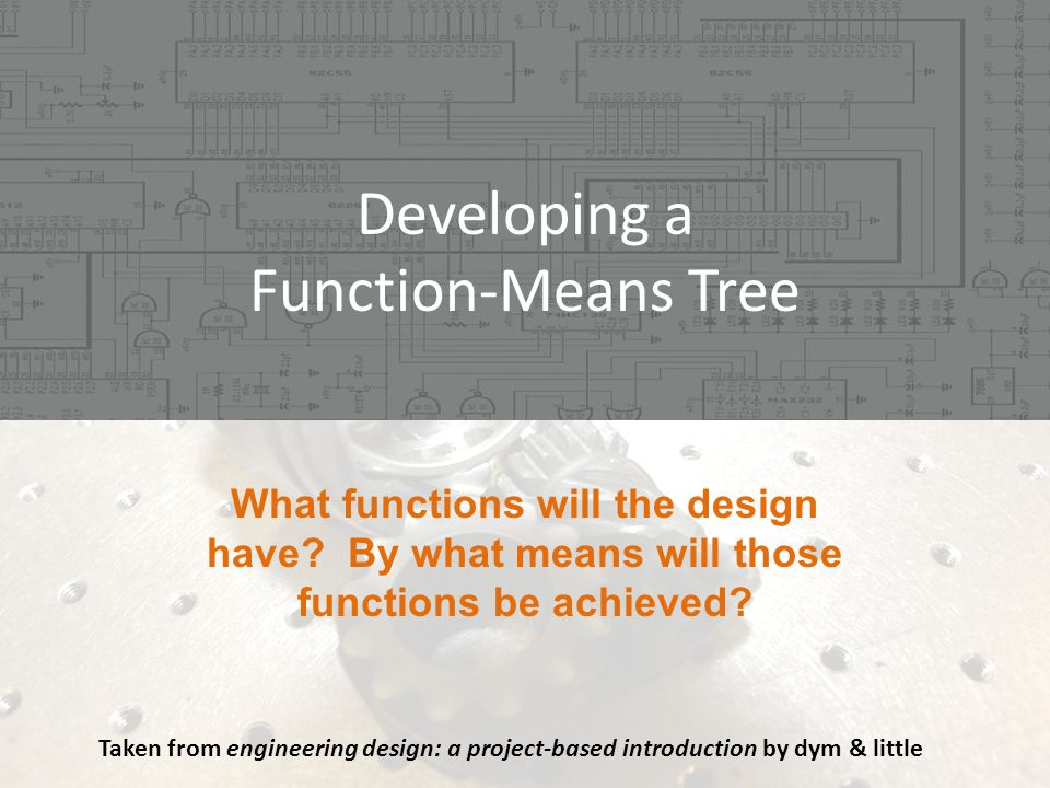 Developing a Function-Means Tree