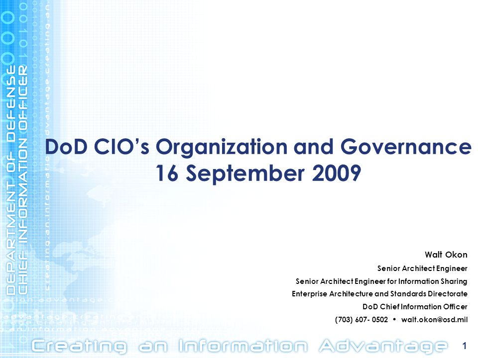DoD CIO's Organization and Governance 16 September 2009