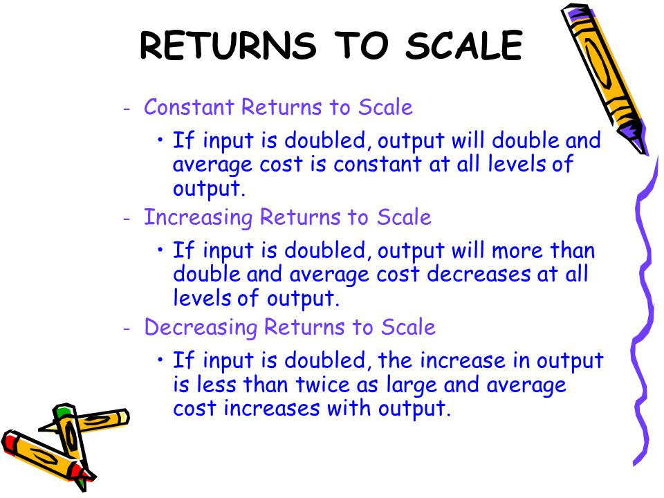 RETURNS TO SCALE Constant Returns to Scale