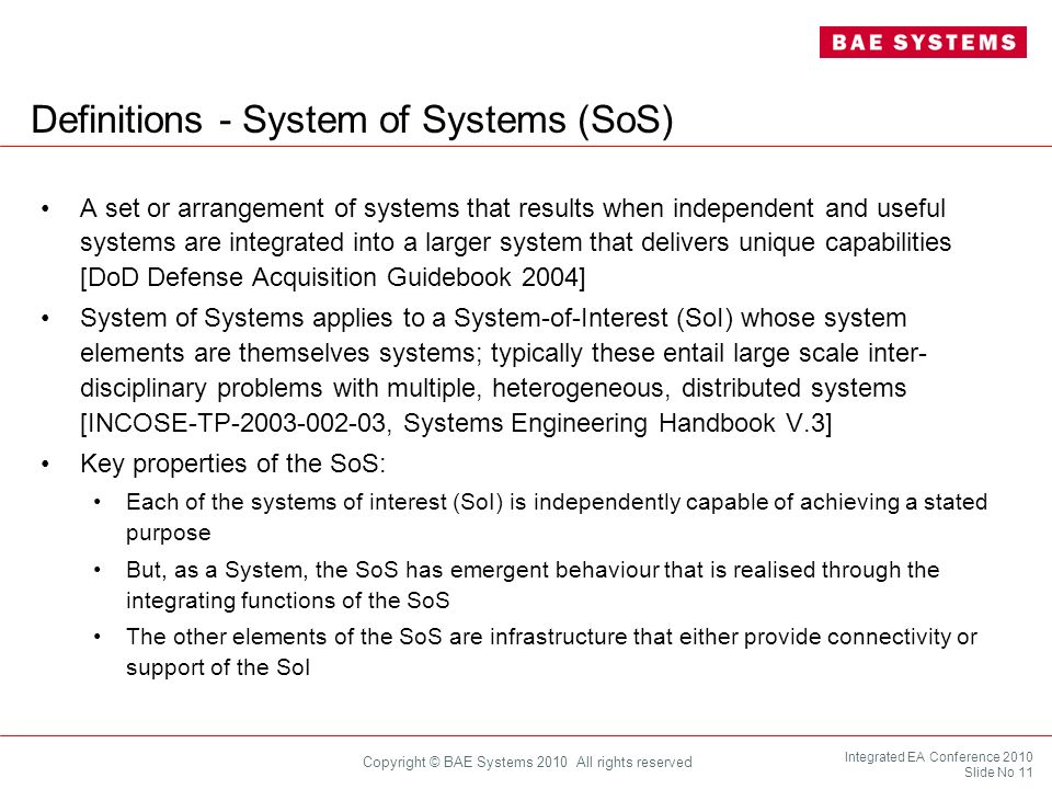 Definitions - System of Systems (SoS)