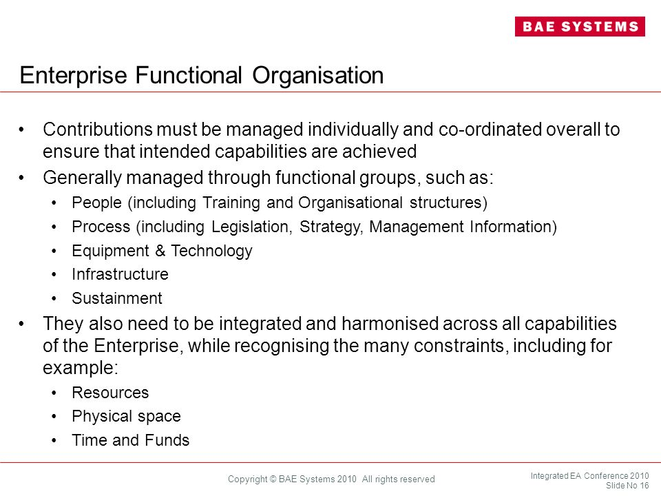 Enterprise Functional Organisation