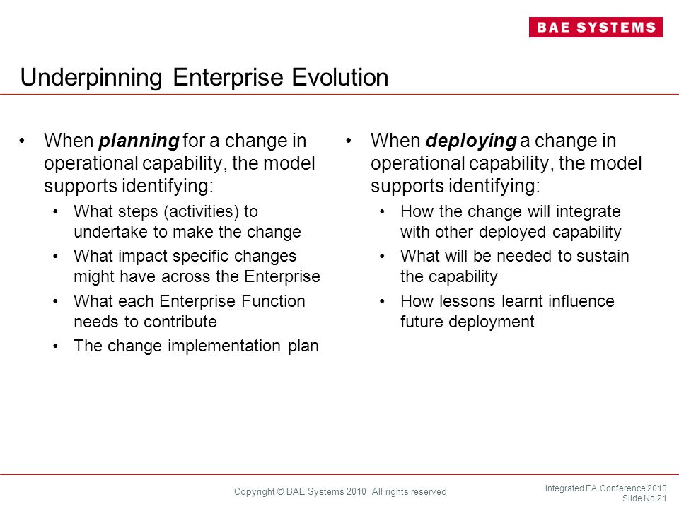 Underpinning Enterprise Evolution
