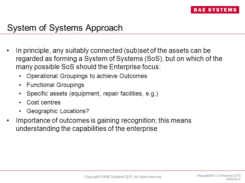 System of Systems Approach