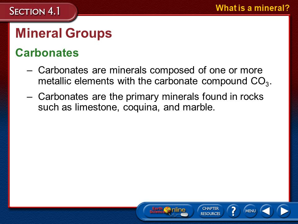 Mineral Groups Carbonates