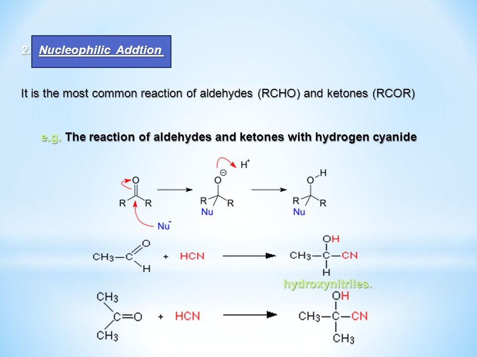 Nucleophilic Addtion It is the most common reaction of aldehydes (RCHO) and ketones (RCOR)