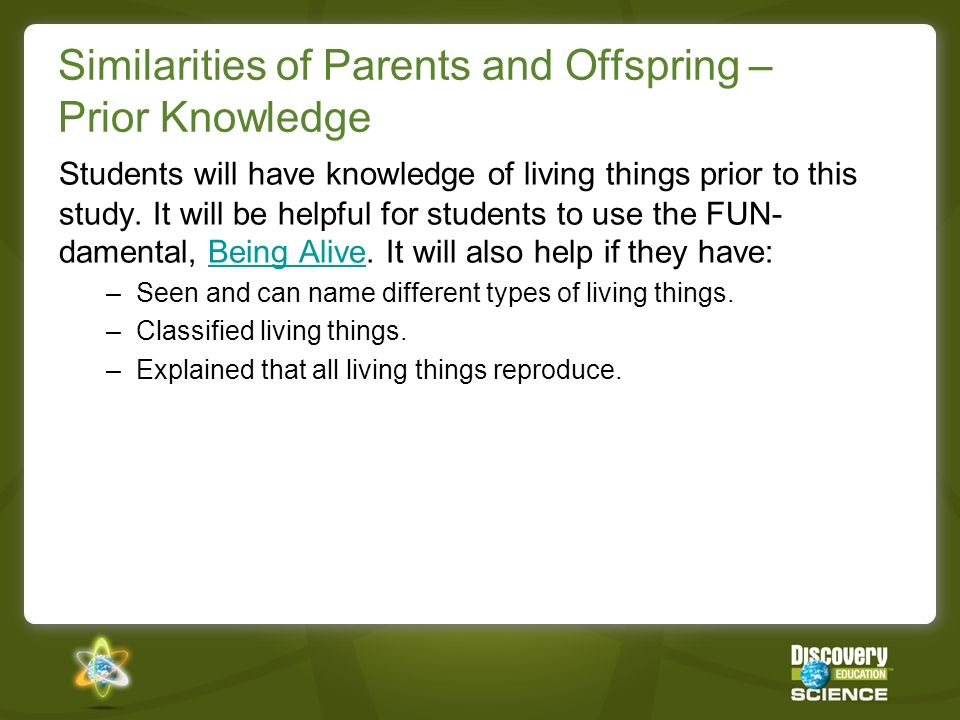 Similarities of Parents and Offspring – Prior Knowledge