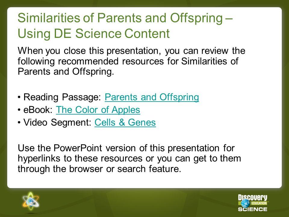 Similarities of Parents and Offspring – Using DE Science Content