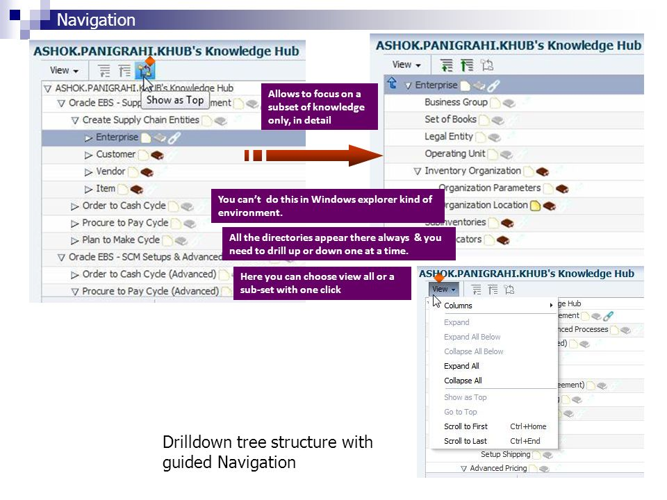 Drilldown tree structure with guided Navigation