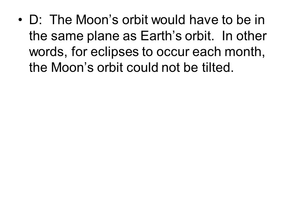 D: The Moon's orbit would have to be in the same plane as Earth's orbit.