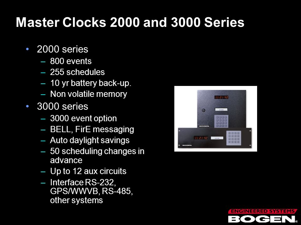 Master Clocks 2000 and 3000 Series