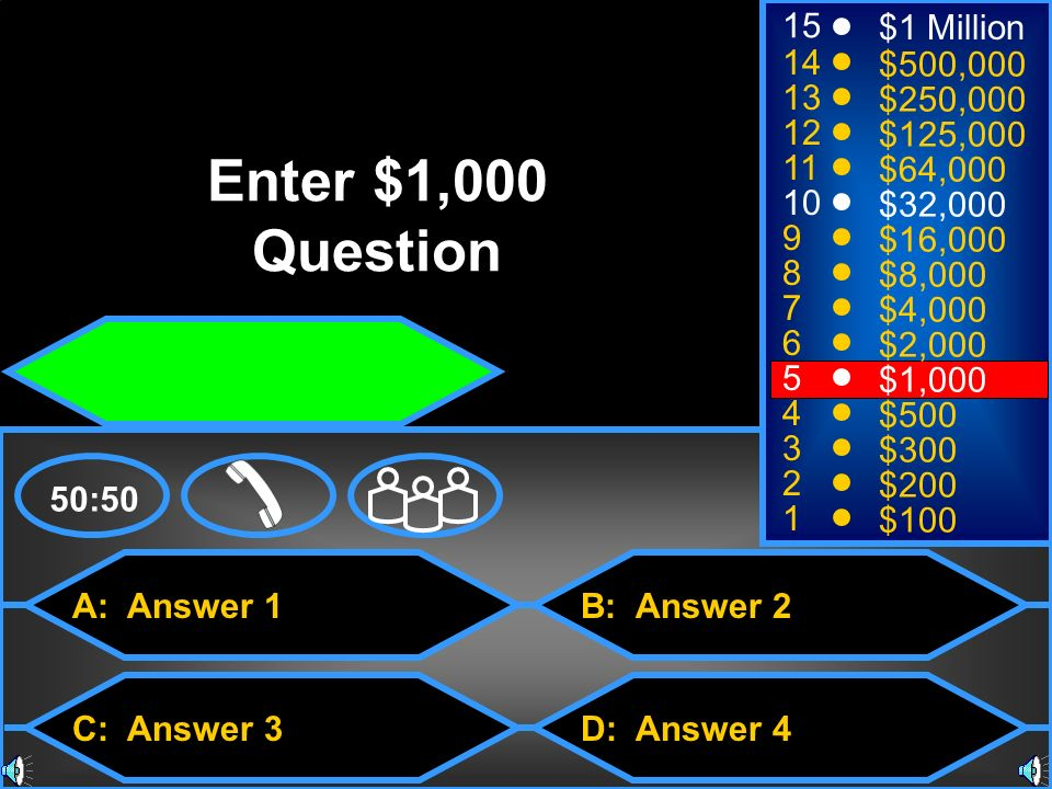 Enter $1,000 Question 15 $1 Million 14 $500, $250,000 12