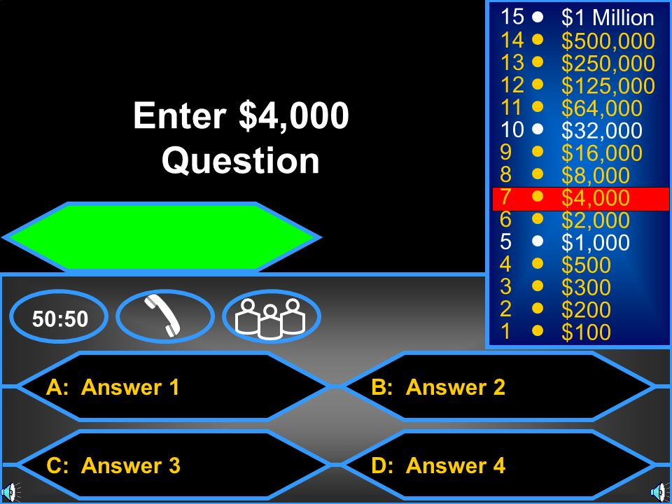 Enter $4,000 Question 15 $1 Million 14 $500, $250,000 12
