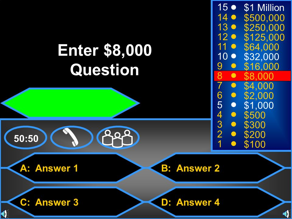 Enter $8,000 Question 15 $1 Million 14 $500, $250,000 12