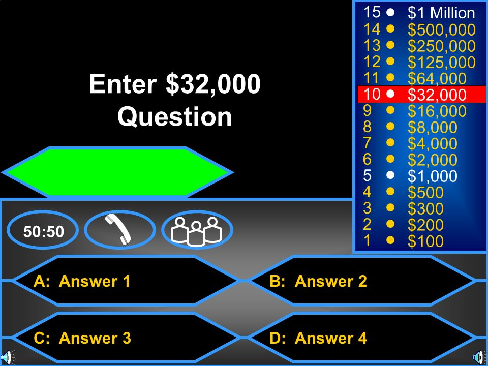 Enter $32,000 Question 15 $1 Million 14 $500, $250,000 12
