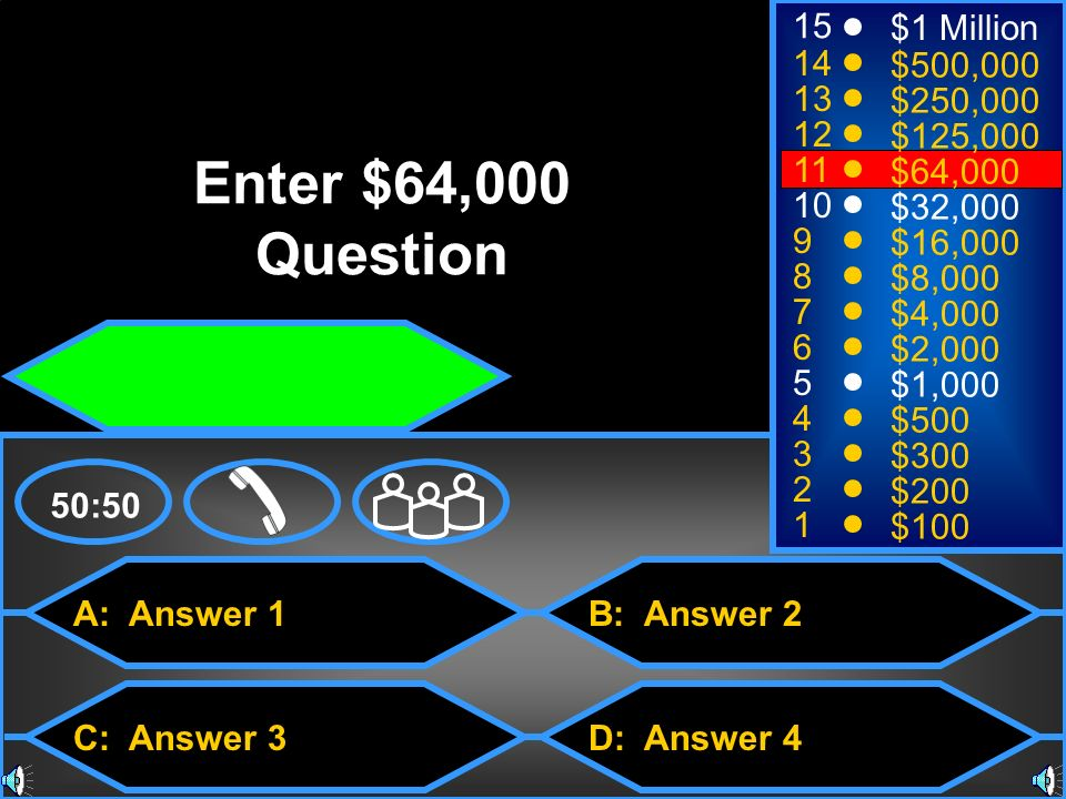 Enter $64,000 Question 15 $1 Million 14 $500, $250,000 12