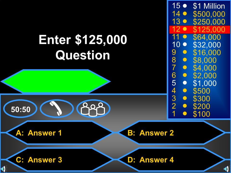 Enter $125,000 Question 15 $1 Million 14 $500, $250,000 12