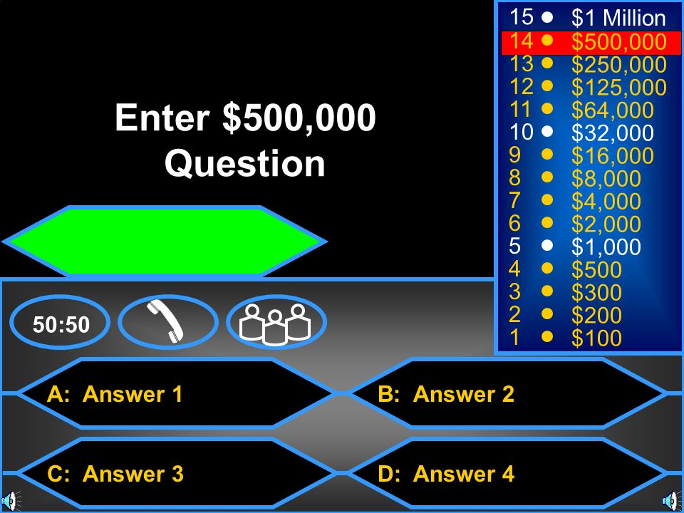 Enter $500,000 Question 15 $1 Million 14 $500, $250,000 12