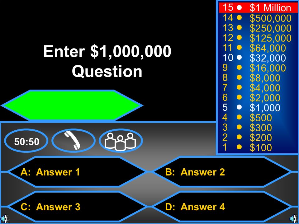 Enter $1,000,000 Question 15 $1 Million 14 $500, $250,000 12