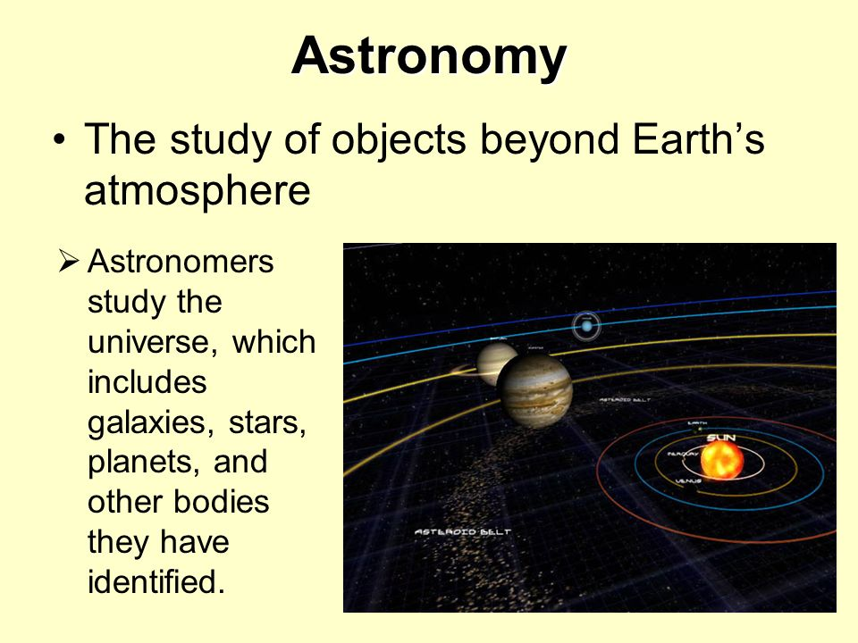 Astronomy The study of objects beyond Earth's atmosphere