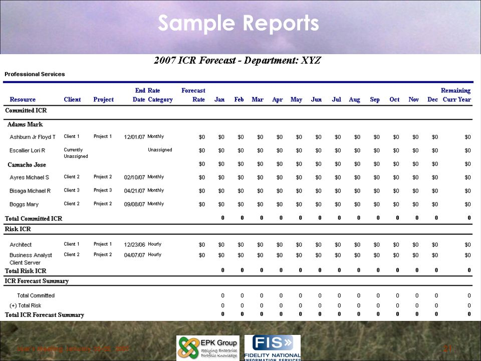 Sample Reports Barb User's Meeting January 23-25,