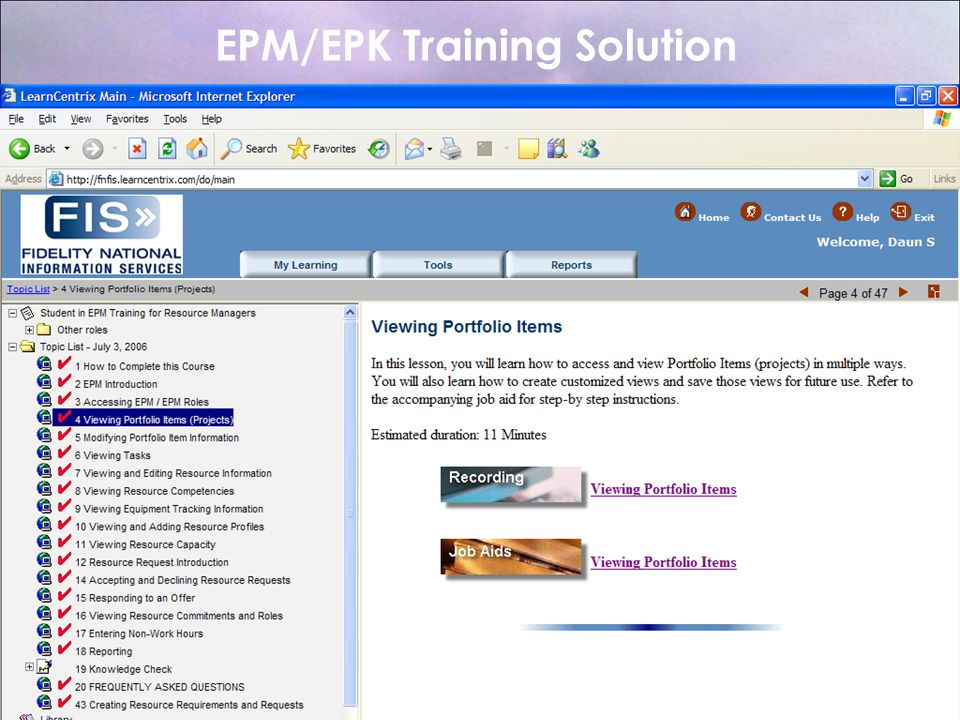 EPM/EPK Training Solution