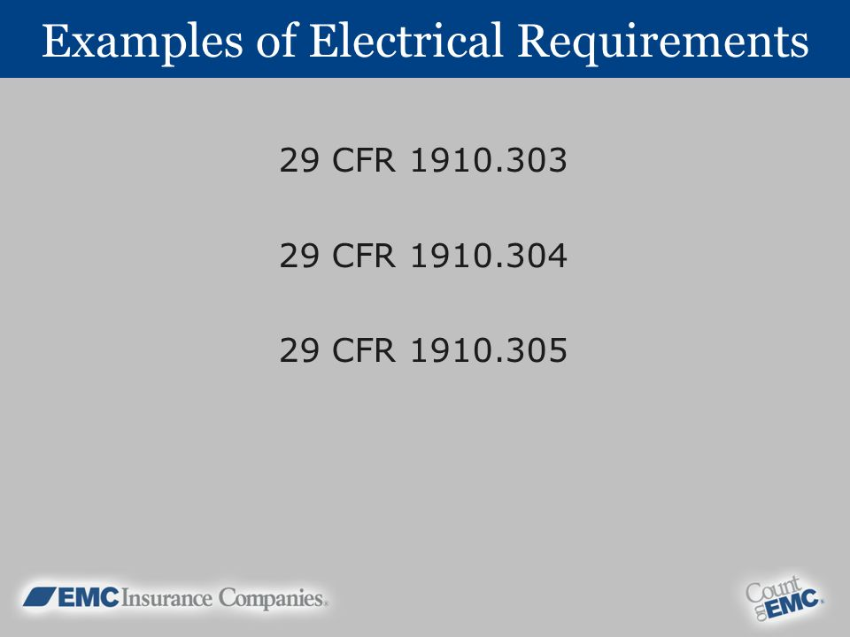 Examples of Electrical Requirements