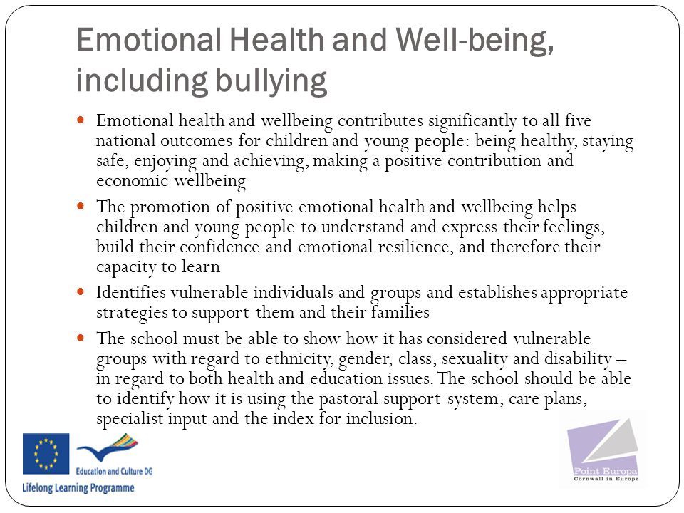 Emotional Health and Well-being, including bullying