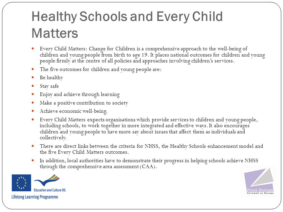 Healthy Schools and Every Child Matters