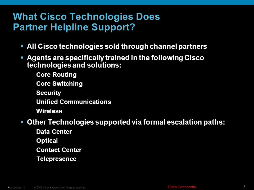 What Cisco Technologies Does Partner Helpline Support