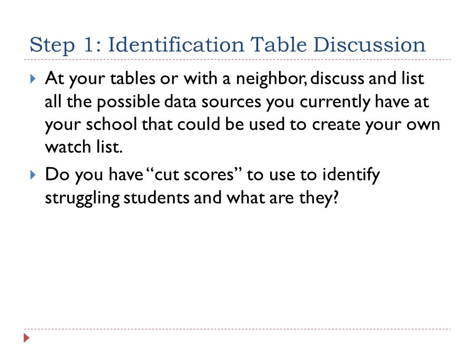 Step 1: Identification Table Discussion