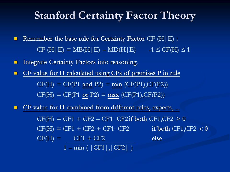 Stanford Certainty Factor Theory