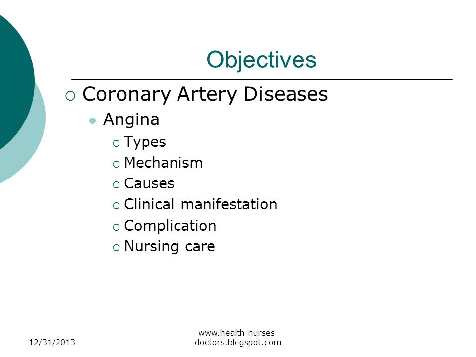 Objectives Coronary Artery Diseases Angina Types Mechanism Causes