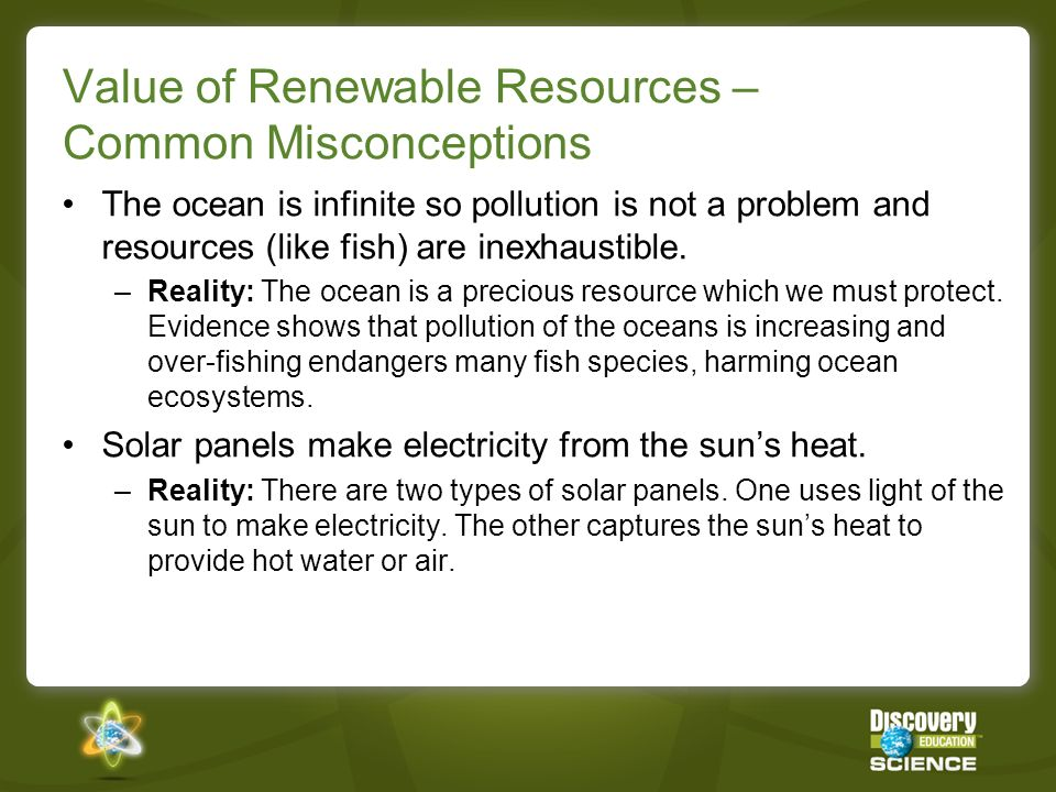 Value of Renewable Resources – Common Misconceptions