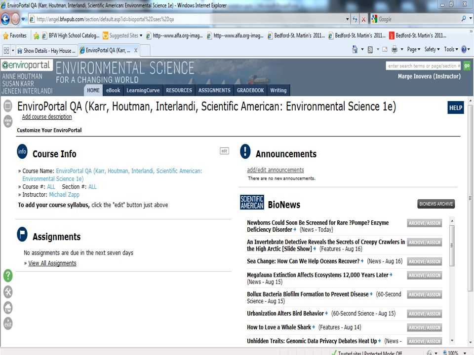 A Screen shot of our premium resource, EnviroPortal.